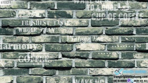 giấy dán tường giả gạch xám, giấy dán tường gạch xưa, giấy gạch cổ