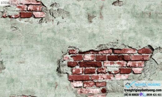 giấy dán tường giả gạch, giấy dán tường giả gạch rêu, giấy giả gach xưa
