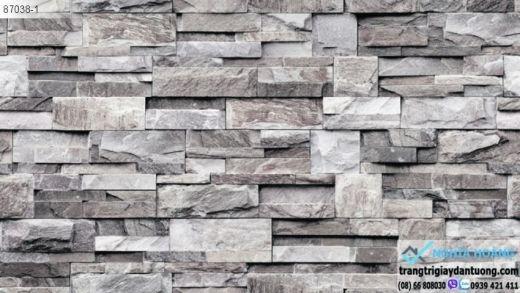 giấy dán tường giá đá, giấy giả đá 3d, giấy dán tường giả đá màu xám