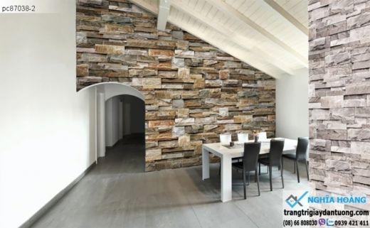 giấy dán tường giá đá, giấy giả đá 3d, giấy dán tường giả đá xếp