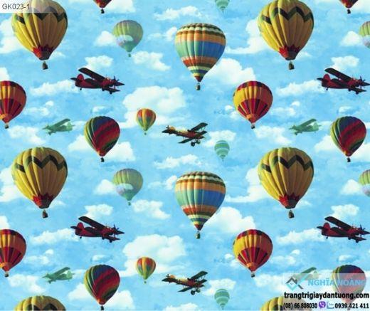 Giấy dán tường Symphony - mây trời, mây xanh, bầu trời xanh, mây trắng, mẫu mây, kinh khí cầu, máy bay