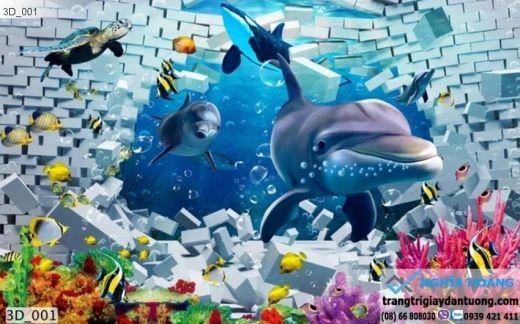 Tranh dán tường cá heo, tranh dán tường cá heo 3d