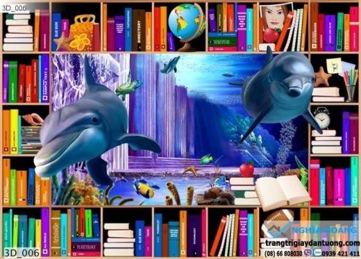 Tranh dán tường cá heo 3d, tranh dán tường cá heo