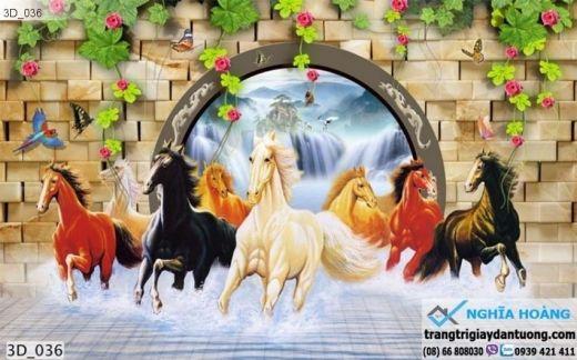 Tranh dán tường mã đáo thành công, tranh dán tường ngựa 3d