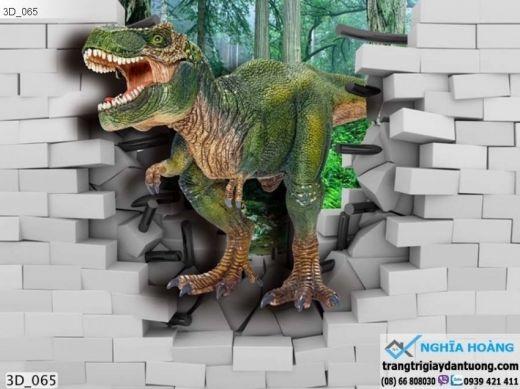 Tranh dán tường khủng long 3d, tranh dán tường 3d khủng long