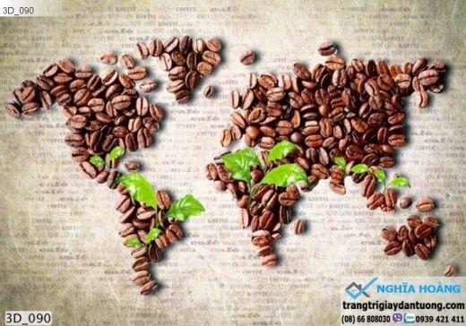 Tranh dán tường bản đồ hạt cafe, tranh dán tường bản đồ hạt cà phê