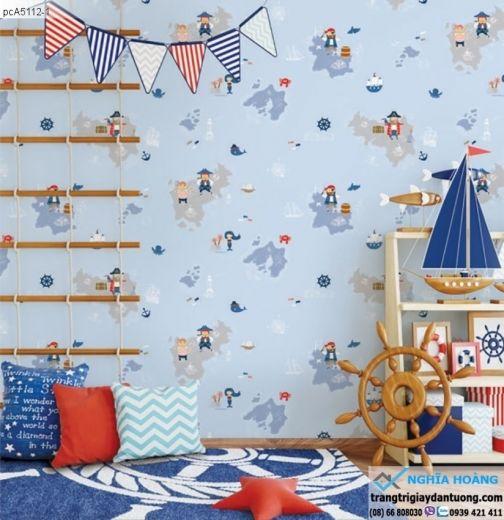 giấy dán tường trẻ em, giấy dán tường cảnh biển