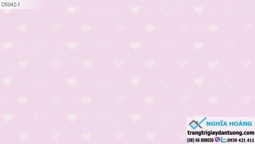 giấy dán tường trẻ em, giấy dán tường trái tim, giấy dán tường bé gái