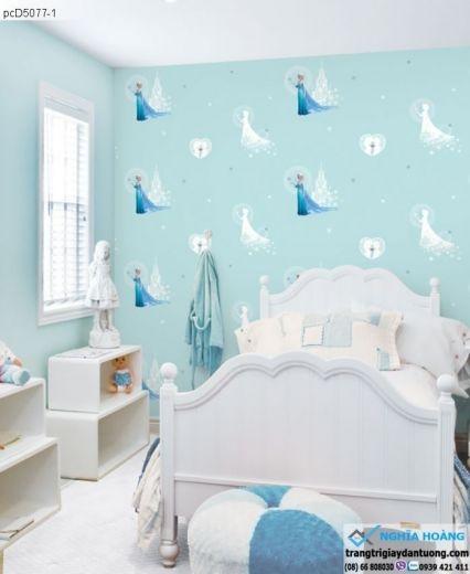giấy dán tường trẻ em, giấy dán tường Elsa, giấy dán tường bé gái