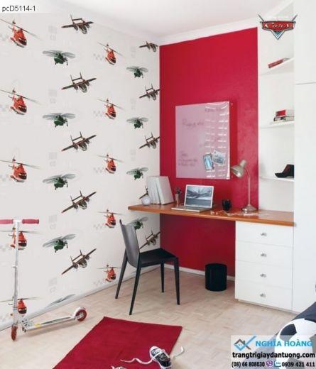 giấy dán tường trẻ em, giấy dán tường máy bay, giấy dán tường bé trai