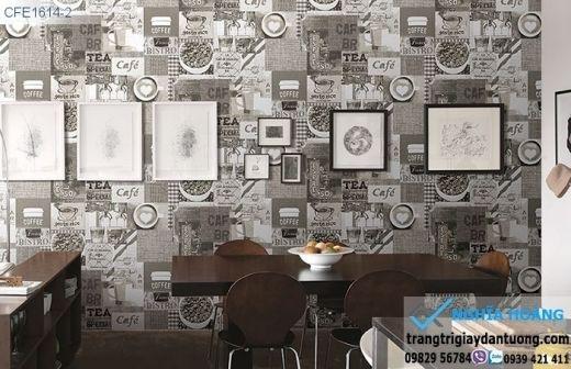 Giấy dán tường quán cafe, giấy dán tường trang trí quán cafe
