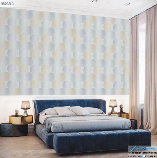 Giấy Dán Tường Regina - mẫu 3d, mẫu hiện đại, hình tròn, mẫu phòng ngủ