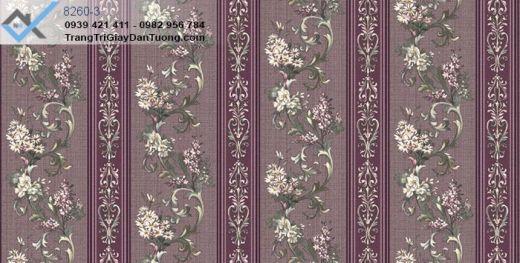 Giấy dán tường màu tím, giấy dán tường hoa lá, giấy dán tường hoa leo