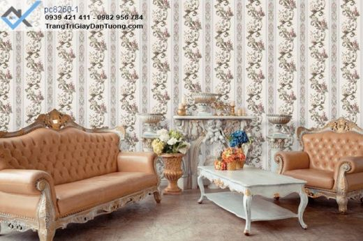 giấy dán tường phòng khách, giấy dán tường bông hoa