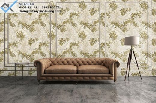 giấy dán tường cành lá, giấy dán tường phòng khách