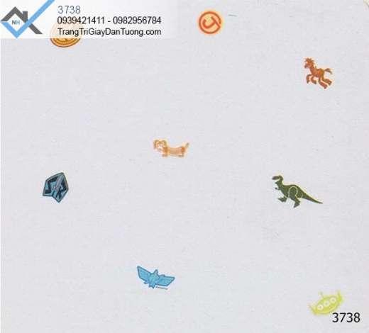 giấy dán tường trẻ em, giấy dán tường khủng long, mẫu giấy động vật
