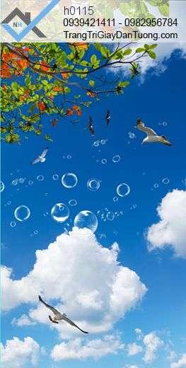 Tranh dán trần bầu trời, tranh dán trần mây trời