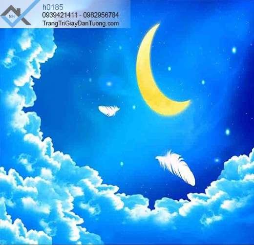 Tranh dán trần bầu trời sao, tranh dán trần mây trời trăng sao