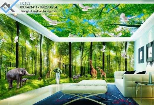 Tranh dán trần bầu trời, tranh dán trần rừng cây