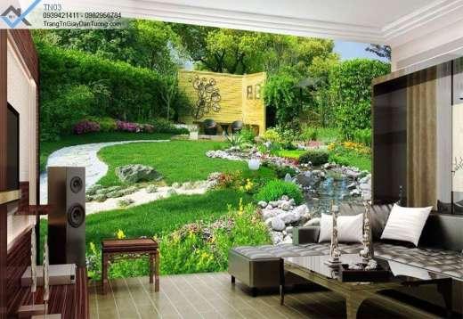 Tranh dán tường góc vườn, tranh dán tường vườn sau nhà
