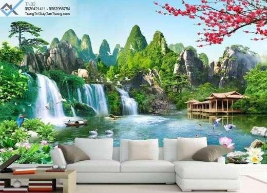 Tranh dán tường thác nước, tranh dán tường bông lai tiên cảnh