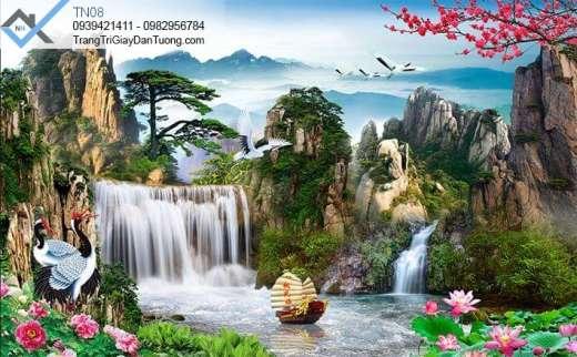 Tranh dán tường thác nước, tranh dán tường hoa sen