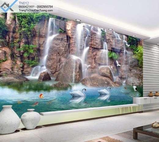 Tranh dán tường thác nước, tranh dán tường thác nước thiên nga