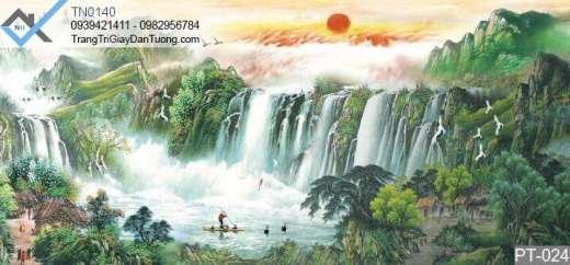 Tranh dán tường thác nước bồng lai tiên cảnh