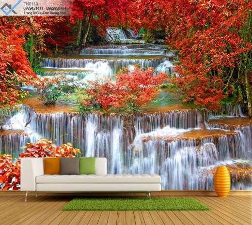 Tranh dán tường thác nước cây màu đỏ