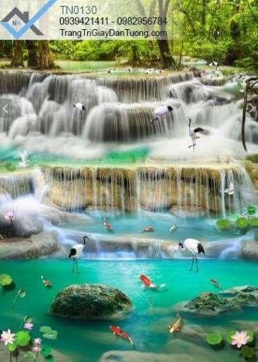 Tranh dán tường thác nước, chim, cá