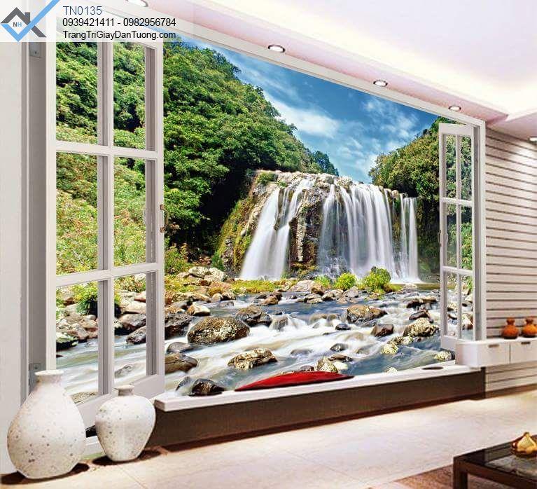 Tranh dán tường thác nước cửa sổ 3d
