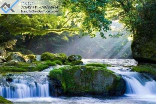 Tranh dán tường thác nước đá rêu xanh