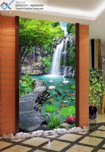 tranh dán tường dòng thác nước cá và 2 con thiên nga