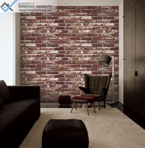 Giấy dán dán tường giả gạch-giấy dán tường gạch cổ
