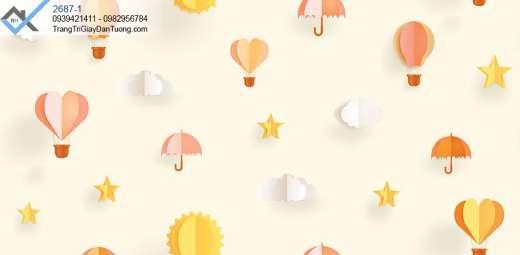 Giấy dán tường khinh khí cầu-giấy dán tường ngôi sao