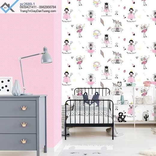 Giấy dán tường phòng bé gái-giấy dán tường chấm bi