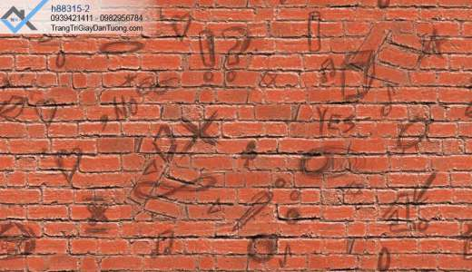 Giấy dán tường giả gạch đỏ