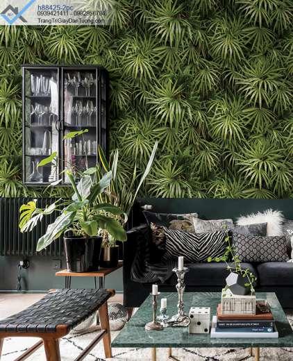 Giấy dán tường thảm lá cây xanh