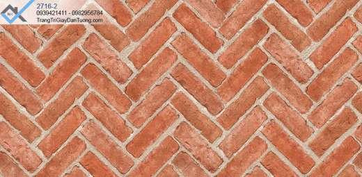 Giấy dán tường giả gạch đỏ xếp chéo
