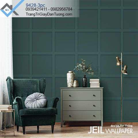 Giấy dán tường ô vuông màu xanh