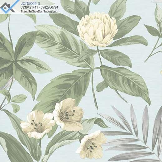 Giấy dán tường bông hoa lá